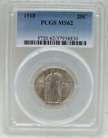 1918 STANDING LIBERTY QUARTER PCGS MINT STATE 62 CERTIFIED - PHILADELPHIA MINT BC585