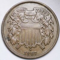 1867 TWO CENT PIECE CHOICE EXTRA FINE  SHIPS FREE E183 KNL