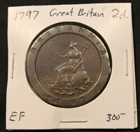 1797 GREAT BRITAIN 2 PENCE EF  CARTWHEEL TWO PENNY LARGE BRONZE COIN. 41MM 56.7G