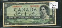 1954 $1 BANK OF CANADA   DEVIL'S FACE HAIR TYPE. VINTAGE BANKNOTE