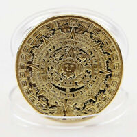 1PC GOLD PLATED MAYAN AZTEC COMMEMORATIVE COIN  COLLECTION GIFT