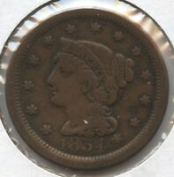 1854 BRAIDED HAIR LARGE CENT PENNY BC717