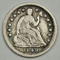 1849-O LIBERTY SEATED HALF DIME.  NATURAL V.F.  137727