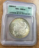 1904-O MORGAN SILVER DOLLAR VAM 35A  ICG MINT STATE 64 RAINBOW EDGE TONING ,VSS
