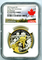 2019 CANADA 1OZ SILVER NGC PF70 UCAM GILT 75TH D DAY ANNIVER