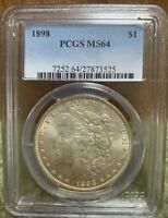1898  $1 SILVER MORGAN DOLLAR COIN PCGS MINT STATE 64  COLOR PHILADELPHIA MINT STATE
