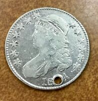 1824  CAPPED BUST HALF DOLLAR  O-113 R3 HOLED VF DETAILS  LOOKS LIKE 1804