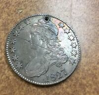 1827 CAPPED BUST HALF DOLLAR  O-106 R2 FROM OLD COLLECTION SMALL HOLE EXTRA FINE  DETAILS