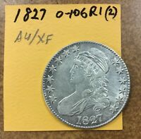 1827 SQUARE BASE 2 CAPPED BUST HALF DOLLAR  O-106 R2  AU CLEANED