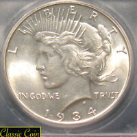 1934 SILVER PEACE DOLLAR $1 ICG MINT STATE 62 90 SILVER TOUGHER DATE