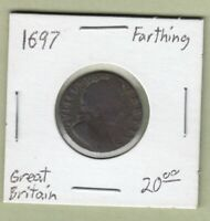 1697 GREAT BRITAIN ONE FARTHING COIN   WILLIAM III
