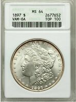1897 VAM-6A SMALL ANACS MINT STATE 64 PITTED REVERSE MORGAN SILVER DOLLAR TOP 100 VAM
