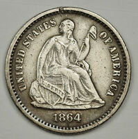 1864-S LIBERTY SEATED HALF DIME.  X.F.  138341