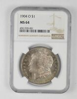 MINT STATE 64 1904-O MORGAN SILVER DOLLAR - TONED - GRADED NGC 4487