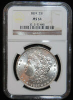 NGC GRADED MINT STATE 64 1897 MORGAN SILVER DOLLAR