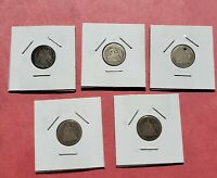 1840-1877 SET OF 5  SEATED LIBERTY DIMES -PRE-CIVIL WAR COINS, ONE COIN IS HOLED