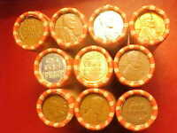 10 ROLLS LINCOLN WHEAT PENNIES 1909 VDB INDIAN ENDS    LOTS