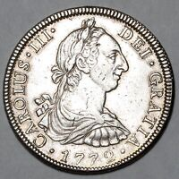 1772 F M KING CHARLES III MEXICO SILVER 8 EIGHT REALES COIN