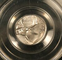 1976 CANADA 25 CENTS   ERROR STRUCK ON WRONG 10 CENTS DIME PLANCHET. CCCS MS64