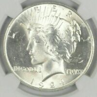 1  BU $1 1924 PEACE SILVER DOLLAR DRIPPING WITH LUSTER UNC MS 90  BULK & SAVE