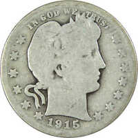 1915 25C BARBER SILVER QUARTER US COIN AVERAGE CIRCULATED