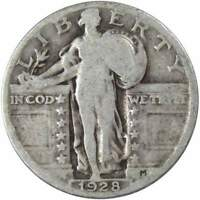 1928 25C STANDING LIBERTY SILVER QUARTER US COIN G GOOD