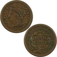 1854 BRAIDED HAIR LARGE CENT VF FINE COPPER PENNY 1C US TYPE COIN