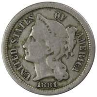 1881 THREE CENT PIECE VG GOOD NICKEL 3C US TYPE COIN COLLECTIBLE