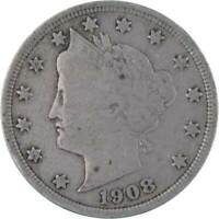 1908 5C LIBERTY HEAD V NICKEL US COIN ABOUT FINE