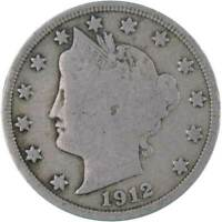 1912 D 5C LIBERTY HEAD V NICKEL US COIN ABOUT FINE