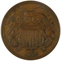 1867 2C TWO CENT PIECE COIN F FINE