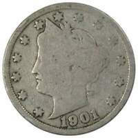 1901 5C LIBERTY HEAD V NICKEL US COIN AVERAGE CIRCULATED