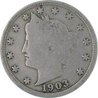 1903 5C LIBERTY HEAD V NICKEL US COIN ABOUT FINE