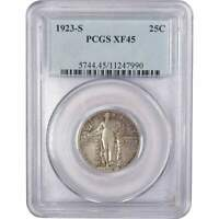 1923 S 25C STANDING LIBERTY SILVER QUARTER US COIN EXTRA FINE  45 PCGS