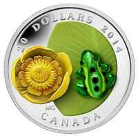 2014 CANADA $20 LEOPARD FROG WATER LILLY 1 OZ .9999 SILVER VENETIAN MURANO GLASS