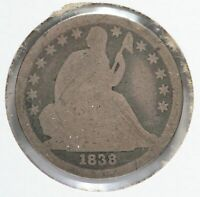 1838 LARGE STARS SEATED LIBERTY SILVER DIME 10C PHILADELPHIA MINT LF104