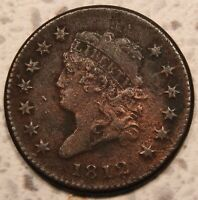 1812 CLASSIC HEAD LARGE CENT. SMALL DATE VF  DETAILS. .