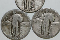 GOOD LOT OF THREE 1928 P D S STANDING LIBERTY SILVER QUARTER NUM4202