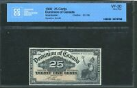 1900 DOMINION OF CANADA 25 CENTS. BOVILLE. VF30 CCCS. DC 15B