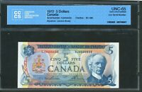1972 $5 BANK OF CANADA   LOW SERIAL NUMBER 35. CCCS GEM UNC 65. BC 48B. .