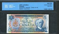 1972 $5 BANK OF CANADA SV8000000 MILLION SERIAL NUMBER NOTE. CCCS AU 55. BC 48B.