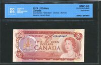 1974 $2 BANK OF CANADA REPLACEMENT NOTE  BX PREFIX. CCCS CHOICE UNC 63. BC 47AA