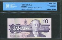 1989 $10 BANK OF CANADA. ATX REPLACEMENT NOTE. UNC64 CCCS. BC 57AA. TH CR SIGS.