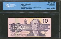 1989 $10 BANK OF CANADA. ATX REPLACEMENT. UNC63 CCCS B T SIGS. STAIN. BC 57BA