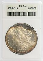 1898-O MORGAN SILVER DOLLAR $1 ANACS MINT STATE 63 CERTIFIED $1 COIN TONING - JC810