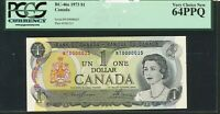 1973 $1 BANK OF CANADA. LOW SERIAL NUMBER NT0000025 NOTE. PCGS UNC64 PPQ.