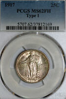 PCGS 1917 PCGS MINT STATE 62FH TYPE 1 STANDING LIBERTY 90 SILVER QUARTER 37812169