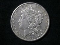 MORGAN SILVER DOLLAR - 1897 S VAM-7  NEAR DATE, DOUBLED 1, TILTED 7