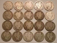 20 PIECE ROLL BARBER HALF DOLLARS 1894 TO 1915 GREAT MIX