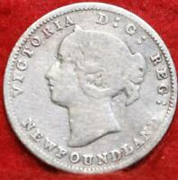1885 NEWFOUNDLAND 5 CENTS SILVER FOREIGN COIN